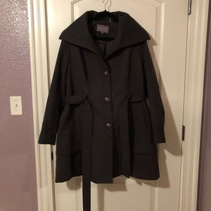 Charcoal Grey Belted Peacoat